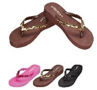 "Ladies 1.75"" Platform Flip Flops [Sequin]"